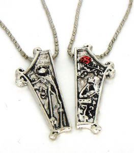 Pair of The Nightmare Before Christmas Jack and Sally lovers necklaces